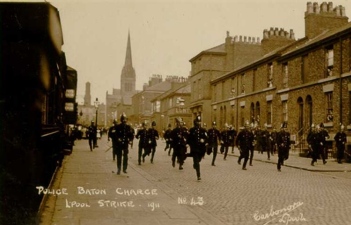 Police Batton Charge Liverpool Strike 1911. Courtesy LRO http://www.yoliverpool.com/forum/showthread.php?108243-1911-Liverpool-Transport-Strike-Pictures-and-Information