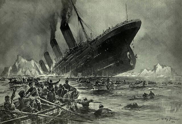 """Titanic sinking. Engraving by Willy Stöwer (died on 31st May 1931): Der Untergang der Titanic. Date: 1912. Für die Magazine """"Gartenlaube"""" gezeichnet von Professor Willy Stöwer. Public Domain."""