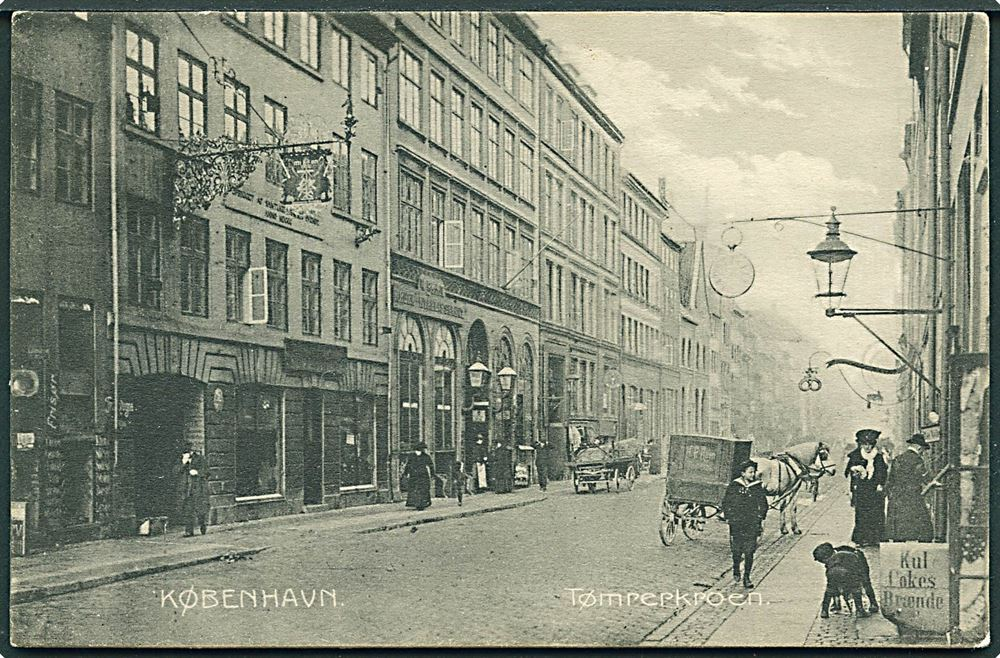 Tømrerkroen i Adelgade København. Postkort fra Stenders Forlag 1906.