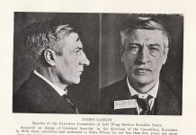 Mugshot of James Larkin arrested on charge of criminal anarchy in 1919. Se mere nedenfor 26. august 1913. Public Domain