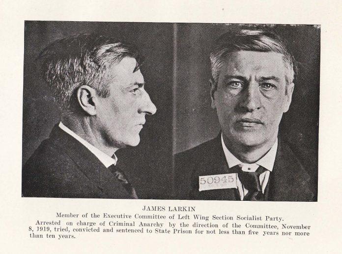 Mugshot of James Larkin arrested on charge of criminal anarchy in 1919. Se mere nedenfor 26. august 1913. Public Domain