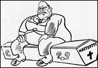 Mussolini on Matteotti's coffin, Cartoonist: Gabriele Galantara/Becco Giallo, 1925, Public Domain.