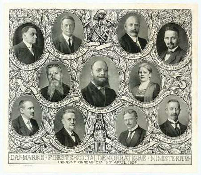 Mindeblad for den første socialdemokratiske regering i Danmark. april 1924-december 1926. Kilde: Det Kgl. Biblioteks billedsamling