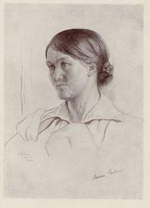 """Skitse af Isaac Brodsky (1884-1939), der skildrer Maria Nielsen til maleriet """"Komintern II-kongres"""" i Sovjetunionen 19. juli - 7. august 1920."""