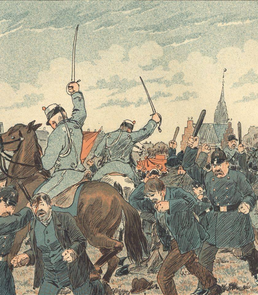 """5. maj 1872 blev demonstration til Fælleden angrebet af politi og militær. Samtidig blev """"førerne"""" af Internationales sektion (parti og fagforeninger samlet i én organisation) Pio, Brix og Geleff arresteret, og først 4-5 år senere blev arbejderbevægelsen egentligt organiseret igen. Tegning fra satirebladet """"Ravnen"""" i 1889."""