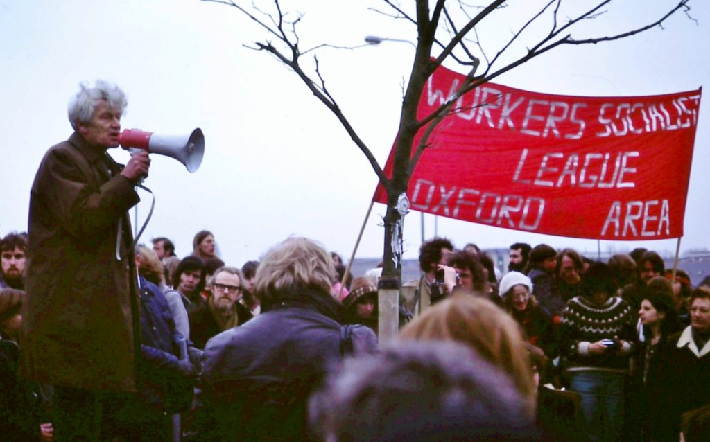 E P Thompson addresses anti-nuclear weapons rally, Oxford, England, 1980. Photo: Kim Traynor. (CC BY-SA 4.0).