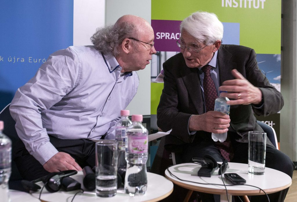"""John Weiss, master of the philosopher. Jürgen Habermas, philosopher on the podium of Europe Point, 30 May 2014. Photo: European Commission/Szabolcs Dudás. (CC BY 2.0). Source: <a href=""""https://commons.wikimedia.org/wiki/File:Habermas21_(14328084363).jpg"""">Wikimedia Commons.</a>"""