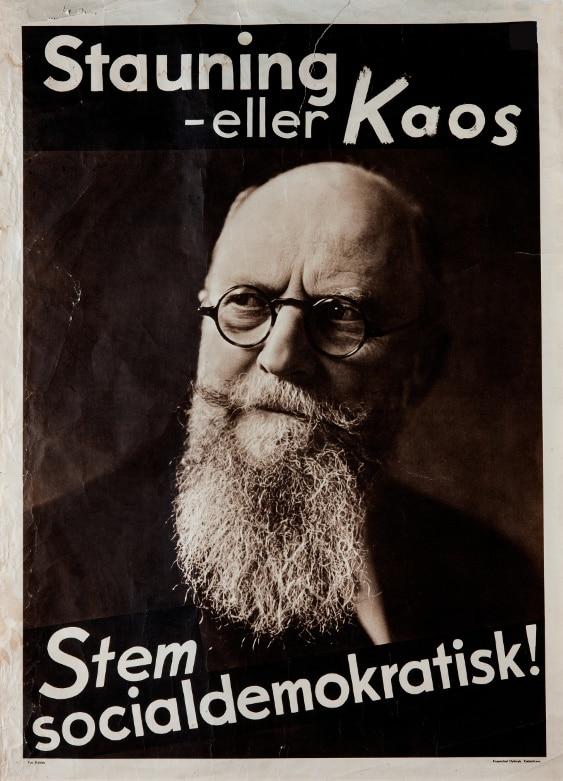Stauning eller Kaos - Valgplakat fra valget i 1935. Kilde: Abejdermuseet.