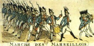 """""""Kampsang for Rhin-Armeen"""" (Chant de guerre pour l'Armée du Rhin) til forsvar for den revolutionære unge franske republik, blev republikkens kampsang 1795, """"Marseillaisen"""", og fransk nationalsang. Artist: W. Holland in London, 1792. Public Domain."""