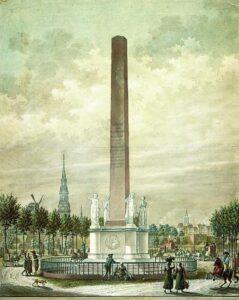 Frihedsstøtten i København, Denmark, circa 1800. Kunstner: Ukendt. Public Domain.