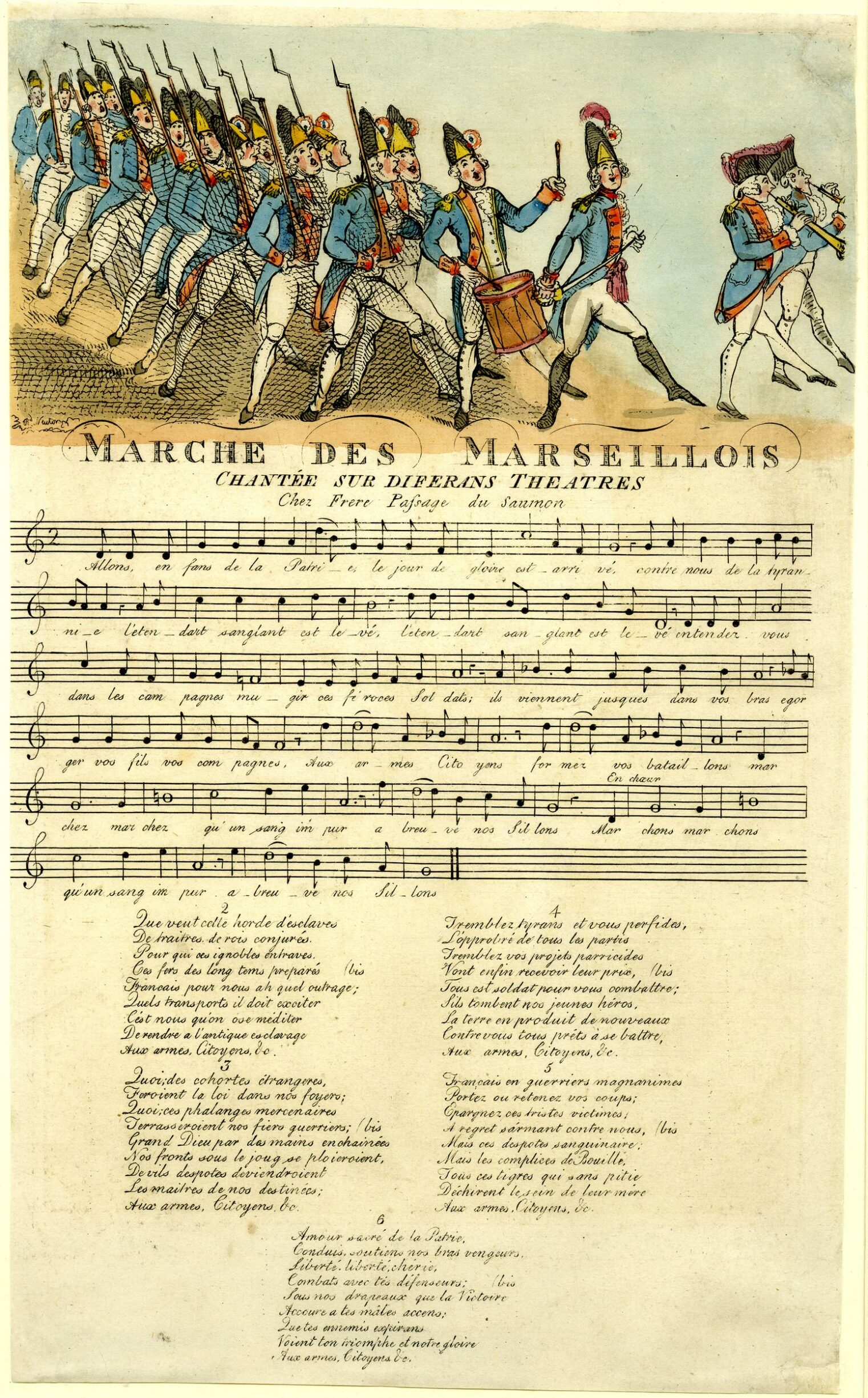 Marche des Marseillois. Revolutionary satire: song sheet recording the 'Marseillaise', under French soldiers marching and singing; version of French print. 10 November 1792. Hand-coloured etching by Richard Newton. Collection: Museum Britànica. Public Domain.
