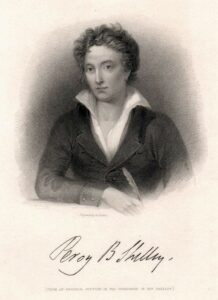 Percy Bysshe Shelley. Original steel engraving by W. Find (1787-1852) for J. Murray, 1833. Public Domain.