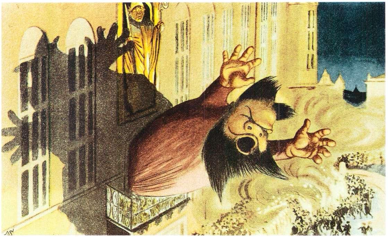 """""""Jensen er valgt!"""" Tegneren Alfred Schmidt (1858–1938) i Blæksprutten 1903 har fremstillet folketaleren Borgbjerg., der bekendtgør valget af første socialdemokratiske borgmester i København, maleren Jens Jensen. Public Domain."""
