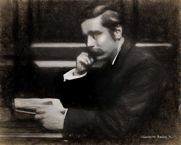 Digital Charcoal and Chalk Drawing of H. G. Wells by Charles W. Bailey, Jr. Lapet efter et Public Doimain photo. (CC BY-NC 2.0).