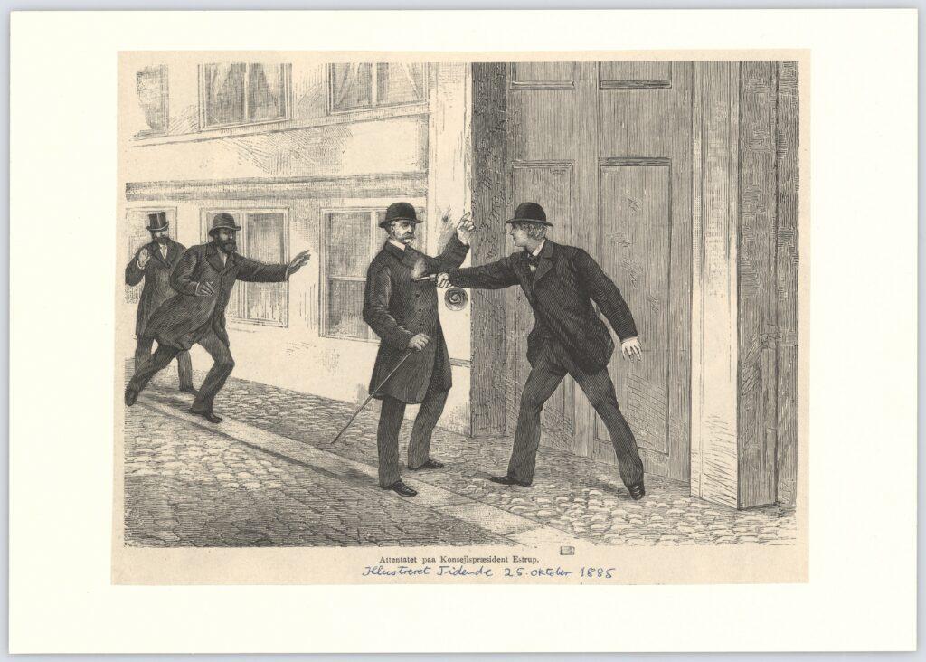 Attentatet på Konsejlspræsident Estrup. Tegning braft i Illustreret Tidende [1859-1924], dansk ugeblad, d. 25 oktober 1885. Samling: Det Kgl. Biblioteks Billedsamling. (CC BY-NC-ND 4.0).