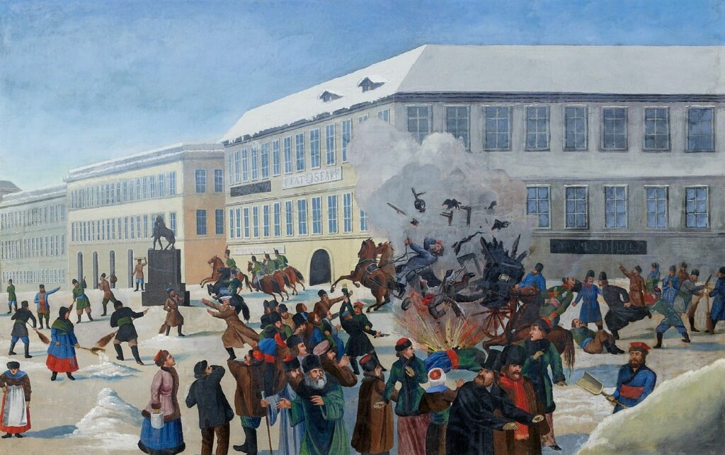 The assassination at Zar Alexander II on March 13, 1881 in St. Petersburg. Russian, 19th century Gouache on paper. Cased. 57 x 90 cm. Date after 1881. Artist: Unknown. Public Domain.
