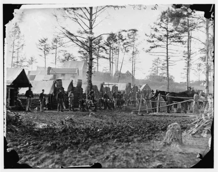 Brandy Station, Va., vicinity. Camp of 18th Pennsylvania Cavalry, 3d Division, Cavalry Corps. Photograph from the main eastern theater of war, winter quarters at Brandy Station, December 1863-April 1864. Photo: Unknown/The Library of Congress/American Memory.
