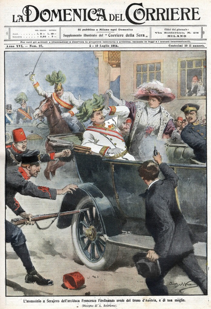 The first page of the edition of the Domenica del Corriere, an Italian paper, with a drawing of Achille Beltrame (1871–1945), Italian paninter and illustrator, depicting Gavrilo Princip killing Archduke Francis Ferdinand of Austria in Sarajevo, 12 July 1914. Public Domain.
