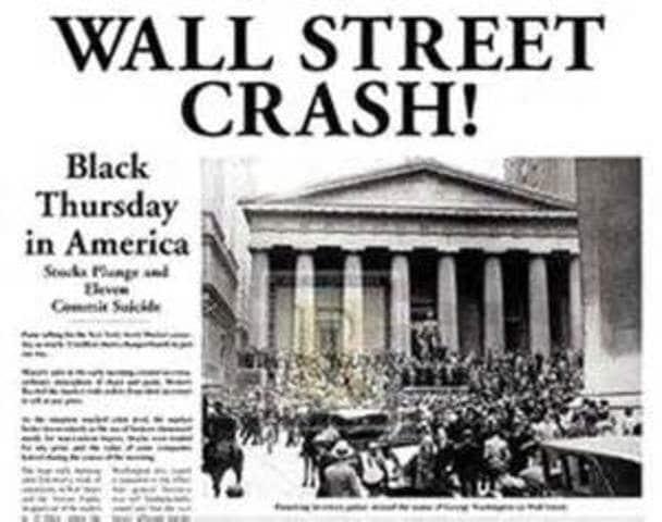 Avisforside med nyheden om Wall Street krakket i 1929.