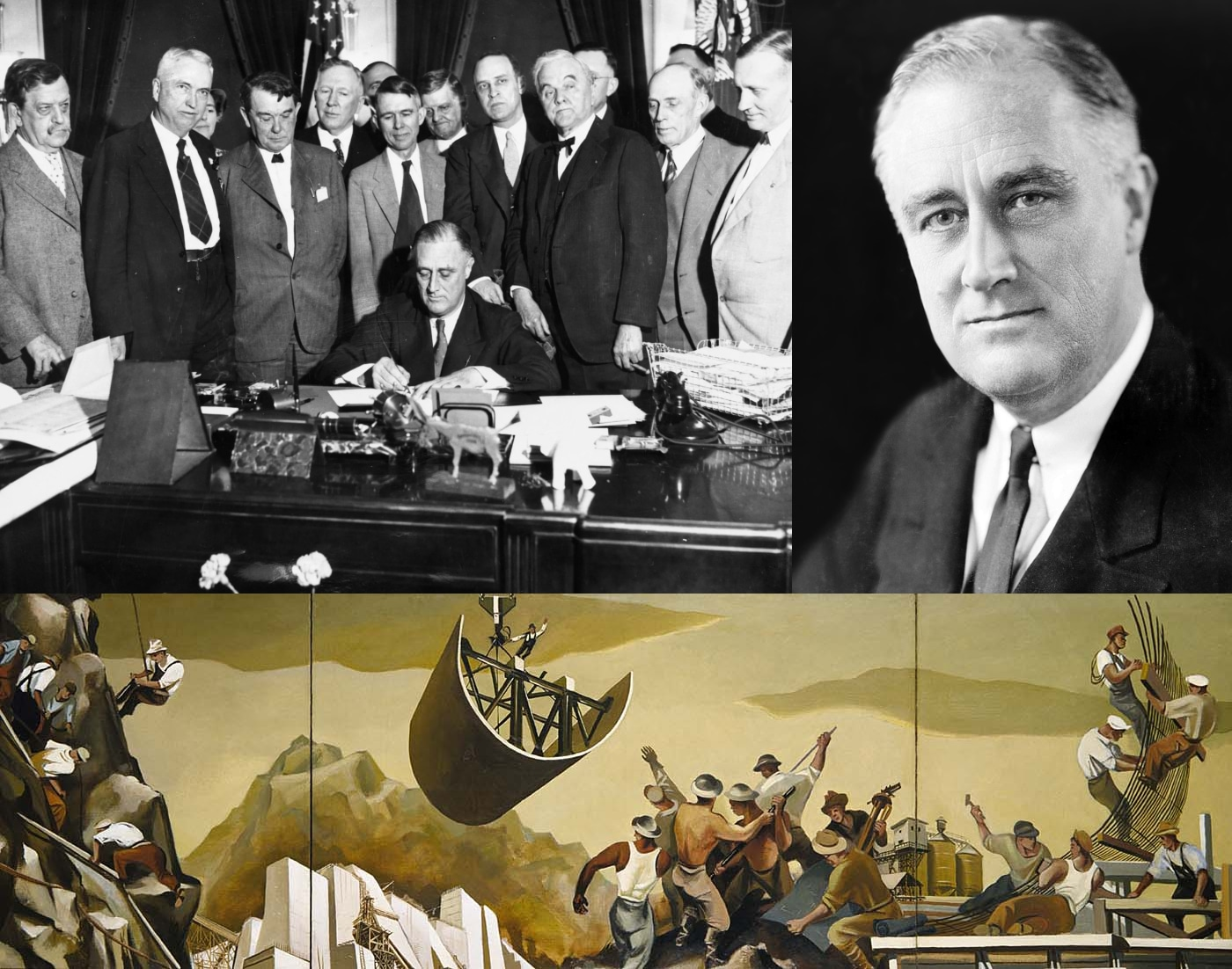 Top left: The Tennessee Valley Authority, part of the New Deal, being signed into law in 1933. Top right: FDR (President Franklin Delano Roosevelt) was responsible for the New Deal. Bottom: A public mural from one of the artists employed by the New Deal's WPA program. Date: 11 January 2008 (original upload date). Collage: LordHarris at English Wikipedia. Public Domain.