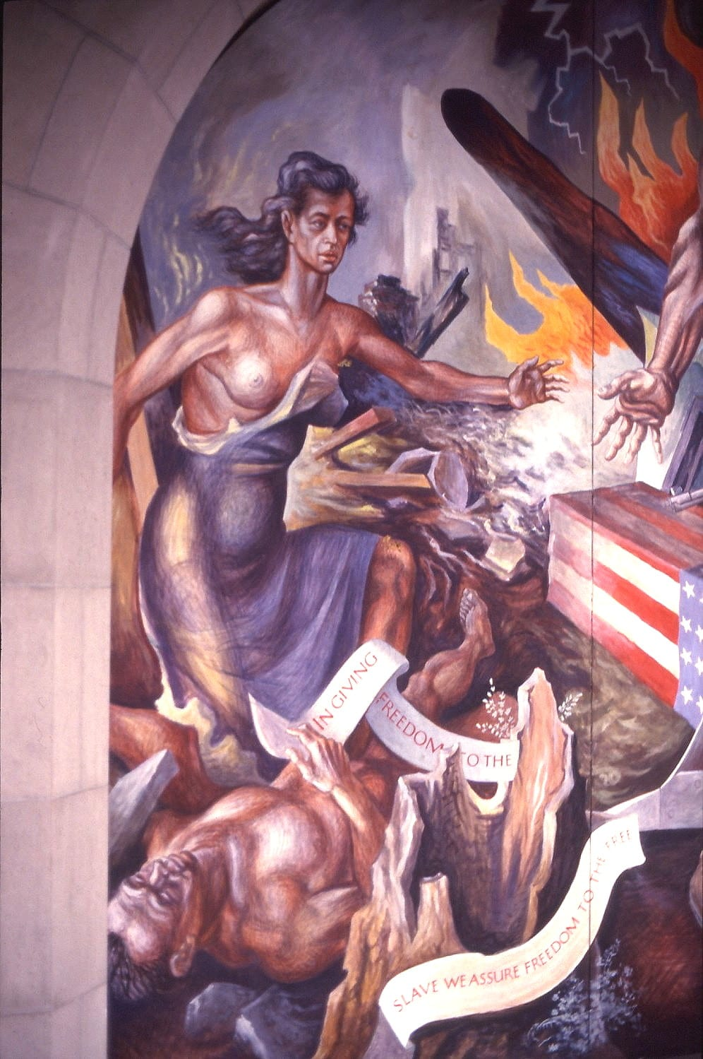 New Deal mural by Charles Pollock, E Lansing USA, ca. 1943. Photo: ca. 1988 by My Einar E Kvaran picture. Public Domain.