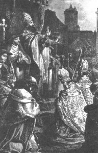 Pope Urban II preaching the First Crusade at the Council of Pope Urban II preaching the First Crusade at the Council of Clermont. Public Domain.