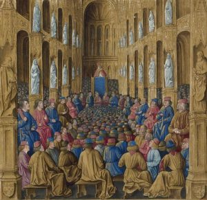 Miniature: Pope Urban II preaching at the Council of Clermont. Sébastien Mamerot, Les passages d'outremer. Made in 1474 by Jean Colombe (1430–1493). Collection: Bibliothèque nationale de France. Public Domain.