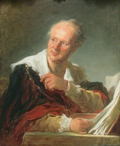 Portrait of the French philosopher Denis Diderot. Oil on canvas painted circa 1769 by Jean-Honoré Fragonard (1732–1806), French painter, draughtsman and etcher. Collection: Louvre, France. Public domain.