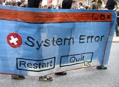 Banner fra demonstrationerne i Rostock mod G8-topmødet i Heiligendamm den 2. juni 2007 – før det egentlige topmøde begyndte. Kilde: kpnet.dk
