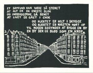 """Inger Christentensens digt fra """"Det"""", udgivet og opklæbet som plakat af de københavnske slumstormere ** først i 70'erne. (udført af grafikeren Gorm Biering-Sørensen, 1972.)"""