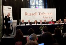 "London session of the Russel Tribunal on Palestine in November 2010 which explored. ""Corporate Complicity in Israel's violations in international human rights law and international humanitarian law"". (Photo: Kristian Buus/Russel Tribunal) Se 4. marts nedenfor."