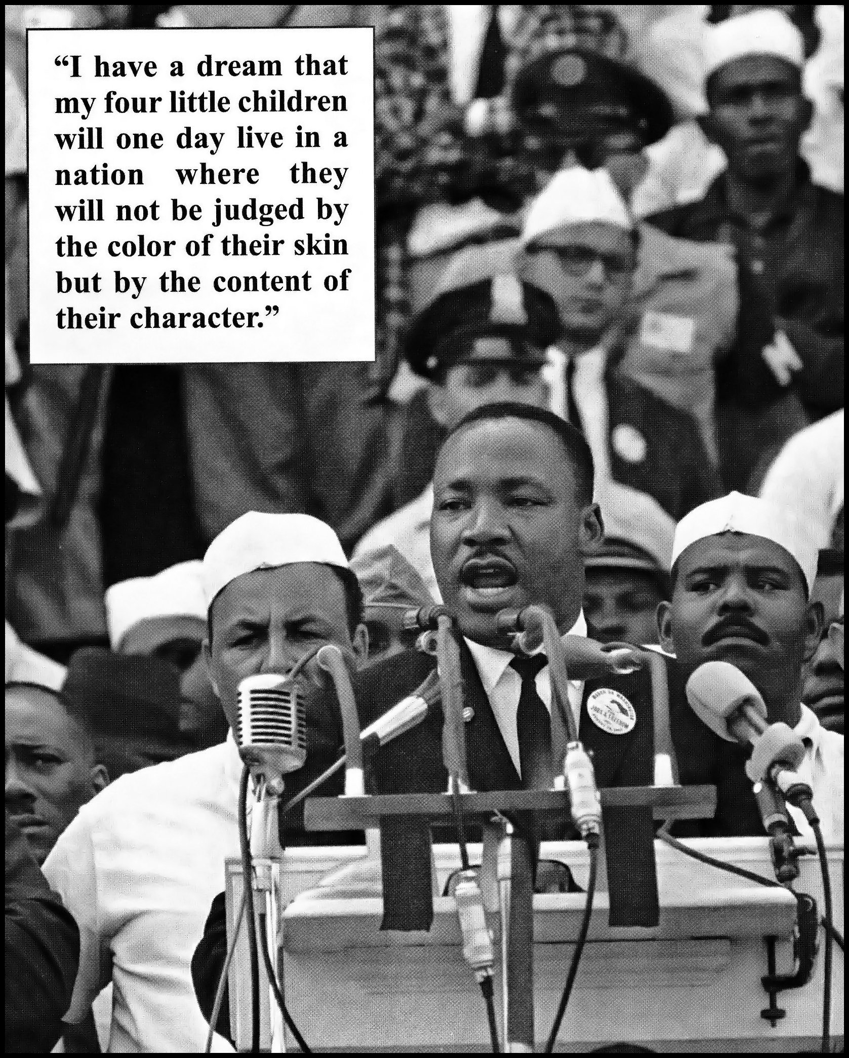 'I Have A Dream' is the popular name given to the public speech by Martin Luther King, Jr., when he spoke of his desire for a future where blacks and whites among others would coexist harmoniously as equals. King's delivery of the speech on August 28, 1963, from the steps of the Lincoln Memorial during the March on Washington for Jobs and Freedom, was a defining moment of the American Civil Rights Movement.Photo: Tony Fischer. (CC BY 2.0).