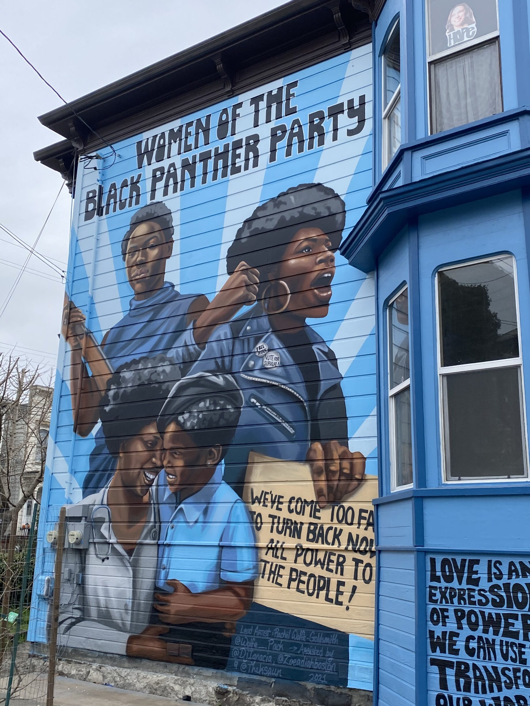 Women of the Black Panther Party. West Oakland Mural Project, 2021. Painting by Rachel Wolfe-Goldsmith. Photo: Taken on March 9, 2021 by rocor. (CC BY-NC 2.0).