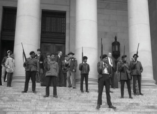 Black Panther demonstration. Photo courtesy of the State Governors' Negative Collection, 1949-1975, Washington State Archives. Collection: CIR Online, The Center for Investigative Reporting. (CC BY 2.0).