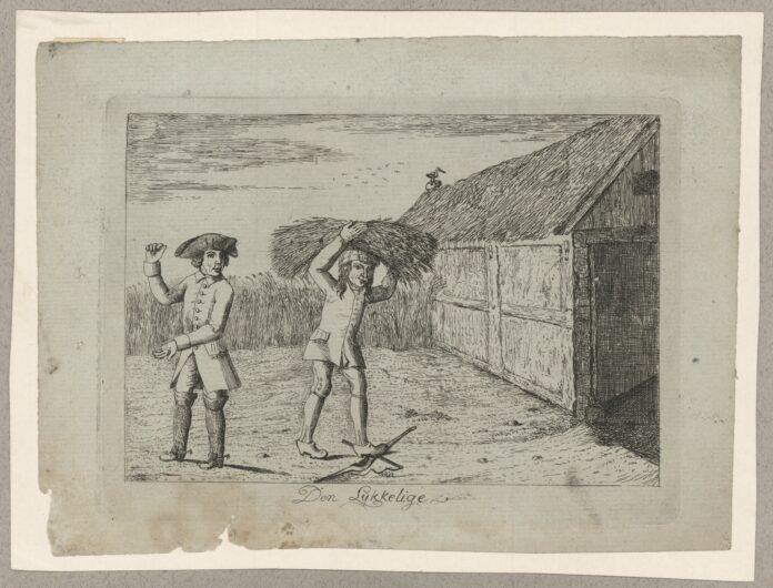 Den Lykkelige. Satire med hentydning til den store, litterære strid, som dengang førtes om proprietær og bonde. Grafik fra 1787 af Nicolai Abraham Abildgaard (1743-1809), maler. Public Domain.