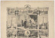 Stavnsbaandets Løsning. Reproduktion af en række kobberstik med motiver fra vigtige begivenheder i Danmarkshistorien. Udateret, men inkluderer bl.a. et kobberstik af Frederik 6 (1768-1839)s lit de parade og begravelse, hvorfor det tidligst må være fra 1840, hvor han blev begravet. Kan tænkes, at det er lavet i forbindelse med begravelsen som hyldest, da stavnsbåndet blev ophævet under hans tid som fungerende regent. Situationer fra stavnsbåndets ophævelse, Frihedsstøtten, Slaget på Reden, slaveri slaveriets ophævelse, Hørsholm Slot, Bernstorffstøtten, lit de parade Frederik 6 (1768-1839), Andreas Peter Bernstorff (1735-1797) statsmand, greve. Kunstner: Julius Hoffensberg (1828–1895) typograf og forretningsmand. (CC BY-NC-ND 4.0). Se nedenfor 18 juni 1788.