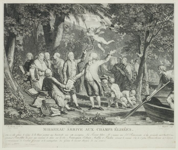Mirabeau arrive aux Champs Élisées. Print shows Mirabeau at center arriving at the Champs Élisées where he hands a copy of the French Constitution to J.J. Rousseau as Benjamin Franklin reaches to place a wreath on his head; in the left background Fénelon, Montesquieu, Voltaire, and Mably come to greet him, and in the right background Demosthenes and Cicero are talking together, on the far right, Charon uses an oar to push his boat off from shore. Published: Paris, 1791. Engraving on off-white wove paper by Louis Joseph Masquelier (1741-1811), French draughtsman and engraver, and Jean Michel Moreau (1741-1814), French draughtsman, illustrator and engraver. Collection: French Political Cartoon Collection (Library of Congress, Washington, DC., USA). Public Domain.