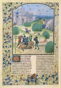 Assassination of an English knight. Illustration from the manuscript of Jean de Wavrin, Chroniques d'Angleterre, 15th century. Illumination on parchment from 1500 by Master of Margaret of York (1446-1503), British painter, illustrator. Collection: Bibliothèque nationale de France. Public Domain.