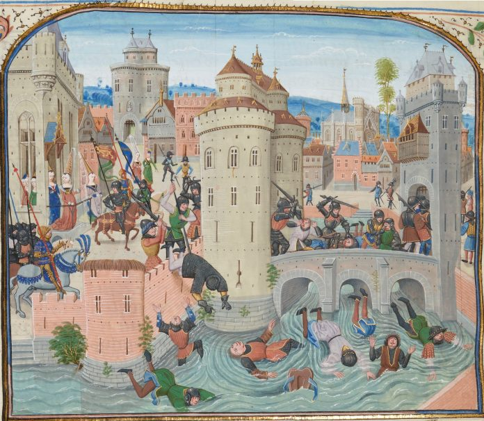 While trying to take the fortress of the Meaux market, where the family of the Dauphin Charles is entrenched, the Jacques and their Parisian allies are surprised by a charge of chivalry from Gaston Phébus and Jean de Grailli (June 9, 1358). Jean Froissart, Chroniques, Flandre, Bruges, 15th century. Illumination on parchment by Loyset Liédet (1420–after 1479 / after 1484), Flemish manuscript illuminator. Collection: National Library of France. Public Domain.