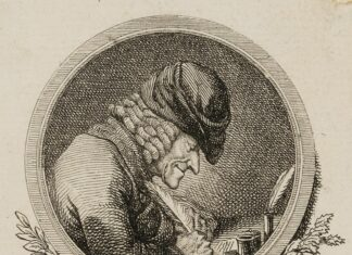 """Voltaire at the desk, 1778. Etching on paper by Daniel Niklaus Chodowiecki (1726–1801), German-Polish painter and printmaker. Title vignette for """"Candide or the best world. Again Germanized by W. Chr. Mylius"""", by Voltaire. Public Domain."""