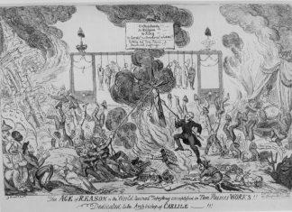 """""""The Age of Reason"""" Satirisk tegning fra 1819 af George Cruikshank (1792–1878), British karikaturtegner, kunstner, illustrator og photograf. Public Domain."""