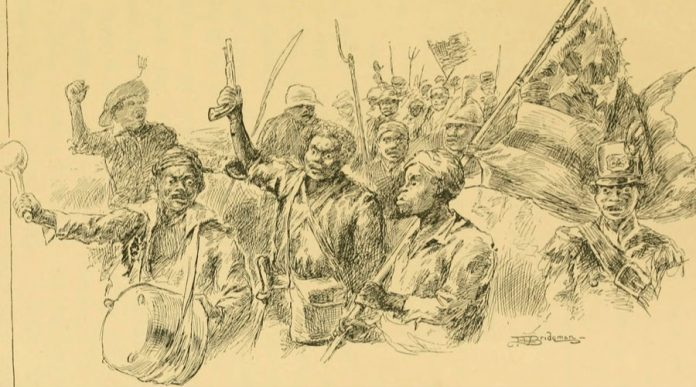 The 1811 German Coast Uprising was a slave revolt in parts of the Orleans Territory in the United States. Date: 10 January 1811. Book illustration by L. J. Bridgman. From M. Thompson (1888). The Story of Louisiana. Boston: Berwick & Smith. Public Domain. See below 8 january 1811.