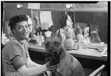 Portrait of Billie Holiday and Mister, Downbeat(?), New York, N.Y., ca. June 1946 (LOC). Photo: William P. Gottlieb, 1917-. Public Domain.