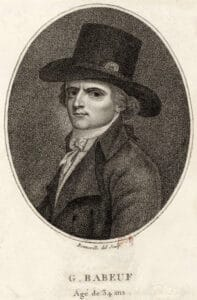 François-Noël Babeuf/Gracchus Babeuf (1760–1797) was a French political agitator and journalist. Engraving from 1794 by François Bonneville (1755–1844), French engraver, publisher, painter and draughtsman. Collection: Bibliothèque nationale de France. Public Domain.