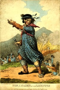 The Leader of the Luddites. Published in May 1812 by Messrs. Walker and Knight, Sweetings Alley, Royal Exchange. Drawinng: Unknown. Public Domain.