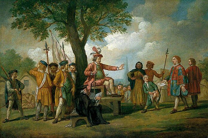 Robert Kett Receives the Earl of Warwick's Herald, 1549. Oil on canvas painted by Samuel Wale (1721–1786). Collection/Photo credit: Norfolk Museums Service. (CC BY-NC-ND 4.0).
