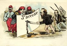 Satirikeren Daumiers fremstilling af Emile Zolas indgreb i Dreyfus-affæren, 1899. Public Domain. Se 13.januar 1898.
