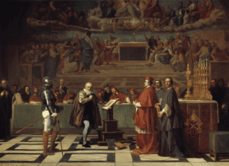 Galileo before the Holy Office. In front of the Inquisition, Galileo renounces the belief that the Earth moves around the Sun, and not the other way around. Painting from 1847 by Joseph-Nicolas Robert-Fleury (1797–1890), French painter. Collection: Musei de Louvre, Paris, France. Public Domain.