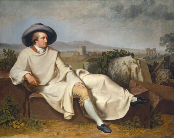 Johann Wolfgang von Goethe in the Roman Campagna, Rome 1787. Oil on canvas painted by Johann Heinrich Wilhelm Tischbein (1751–1829), German painter. Collection: Städel Museum, Städelsches Kunstinstitut und Städtische Galerie, Frankfurt am Main, Germany. Public Domain.