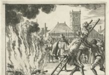 Anneken Hendriks is burned in Amsterdam 1571. Anneken was a Frisian housewife, Anabaptist since 1552. In October 1571, she was identified in Amsterdam and sentenced to death. The executioner was ordered to fill her mouth with gunpowder, tie her to a ladder, and throw her onto a bed of burning coals. Engraving by Jan Luyken (1649–1712), Dutch poet, illustrator and engraver, for the second edition of El Espejo de los Mártires (The Mirror of the Martyrs), 1685. Collektion: Rijksmuseum, Amsterdam, The Netherlands. Public Domain.